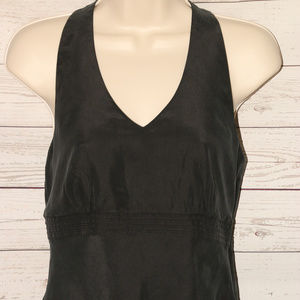 NWOT Ann Taylor Sz 4 Black Silk Top Embroidered